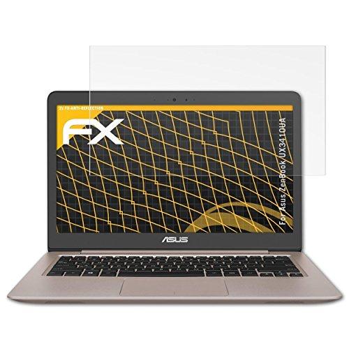 atFolix Panzerfolie kompatibel mit Asus ZenBook UX3410UA Schutzfolie, entspiegelnde & stoßdämpfende FX Folie (2X)