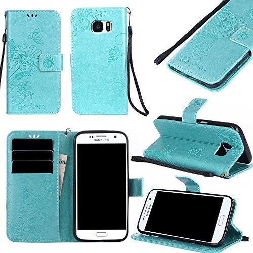 Premium PU-Leder Folio Stand Case, Solid Farbe prägeartig Blumen Stil Schutzhülle Tasche Tasche mit Lanyard & Card Slots für Samsung Galaxy S7 ( Color : Modena ) Green