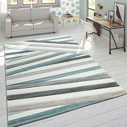 Designer Tappeto Moderno Taglio Sagomato Colori Pastello A Righe Zig Zag Blu Crema, Dimensione:160x230 cm