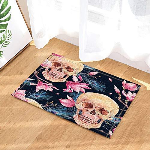Sugar Skull Dekor menschlichen Schädel in rosa Magnolia Blumen und Pfauenfedern Bad Teppiche rutschfeste Fußmatte Boden Eingangsbereiche Indoor Haustür Matte Kids Badematte 60X40CM Badezimmer Zubehör