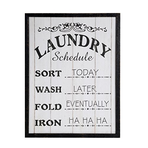 NIKKY HOME Dekorative hölzerne gerahmte hängende Wand Plaque / Zeichen für Waschküche (Dekorative Home-zeichen)