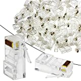 Aussel 100PCS RJ45 Connector Network Cable Crimp Ends Plug Transparent 8P8C Ethernet Crimp Connector (Style 5)