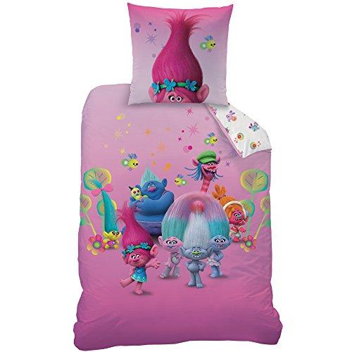 Trolls Group Parure de lit, Coton, Rosa, 135 x 200 x 80 cm