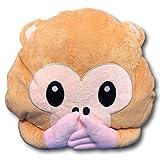 EKNA Emoji-Con Emotikon Kissen Sofakissen plüsch weich mit Auswahl Smiley Affen Geist Kacki Haufen Kackhaufen (Affe Mund zu)
