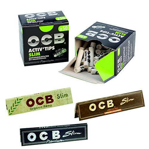 OCB Activ Tips Aktivkohle Filter Bundle Set 2x50 Stück inkl. 3 Heftchen OCB Schwarz Slim, Organic und Unbleached Gratis -