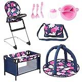 Bayer Design 61769AB Puppen Set 9 in 1 mit Reisebett, Tasche, Spielbogen, Hochstuhl, Plastik Geschirr, Puppenzubehör, blau, pink, sterne