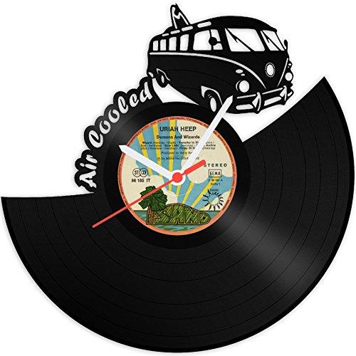 Schallplattenuhr Bulli Wanduhr aus Vinyl Upcycling Design Uhr Vinyl-Uhr Wand-Deko Vintage-Uhr Wand-Dekoration Retro-Uhr Made in Germany Vw Bus Uhr