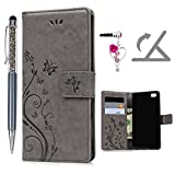 Huawei P8 Lite Hülle, Pincenti Leder Flip Wallet Cover in Book Style Stand Case Card Slot Leder Tasche Case Karteneinschub und Magnetverschluß Kratzfestes und Schmutzunempfindliches in Gray Schmetterlings-Rebe für Huawei P8 Lite+ Stylus Stift +Staubstecker(2016 Edition))