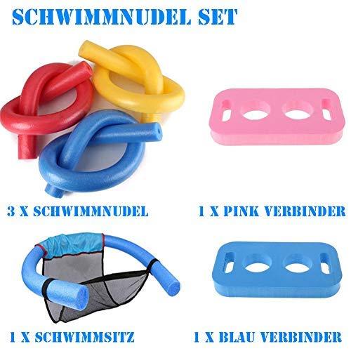 Towinle Schwimmnudel Set Poolnudel Schwimmnudelsitz Schwimmnudel Verbinder Set PE-Schaum Schwimmhilfe Kinder Erwachsene Cool Badespielzeuge (Schwimmnudel Set)