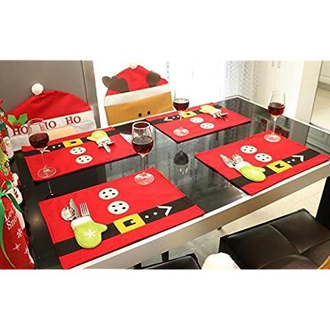 G&M Navidad vacaciones mesa lugar de esteras esteras guantes bolsas incluyen cocina Navidad rojo clásico (juego de