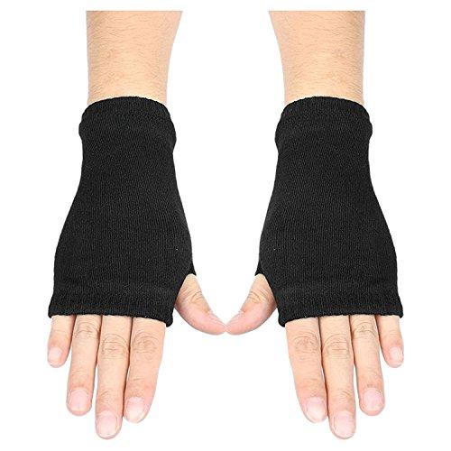 SODIAL(R) Black Elastic Combed cotton Fingerless Gloves for Women