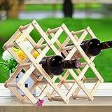 UOPJKL Holz Faltbar Weinregal für 10 Flaschen Weinflaschenregal Wine Rack Wine Exhibition Organizer (Farbe 2)