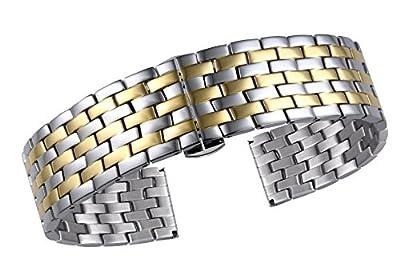 Correas de Reloj de Lujo para Damas Acero Inoxidable 316l sólido en Plata y Oro de Doble Tono