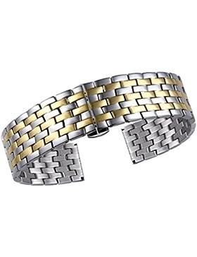 15mm zwei Ton Silber und Gold Uhr Armband Ersatz Gurt Premium Edelstahl für Frauen