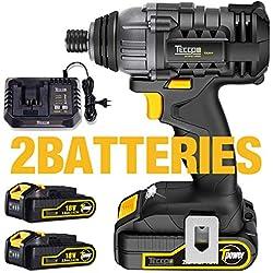 """Visseuse à chocs Sans Fil 180Nm, TECCPO 2×2.0Ah Batteries 18V, 30min Chargeur 4.0A Rapide, 1/4""""mm Mandrin en Métal Autobloquant, Taux d'impact 4000bpm, Vitesse Variable 0-2900 tr/min - TDID01P"""