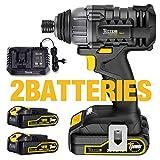 Visseuse à chocs Sans Fil 180Nm, TECCPO 2×2.0Ah Batteries 18V, 30min Chargeur 4.0A...