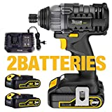 Avvitatore a Impulsi, TECCPO 180Nm Avvitatore Batteria 18V, 6.35mm Mandrino, 2 Batteries 2.0Ah, 30min Caricatore Rapido, Velocità variabile, Impulsi 0-4000 bpm -TDID01P