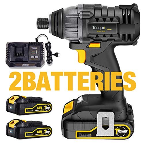 Avvitatore a Impulsi, TECCPO 180Nm Avvitatore Batteria 18V, 6.35mm Mandrino, 2 Batteries 2.0Ah, 30min Caricatore Rapido, Velocità variabile, Impulsi 0-4000 bpm, Migliore Regalo di DIY -TDID01P