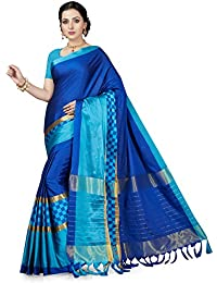 Ishin Poly Silk Navy Blue Woven Women's Saree/Sari With Tassels