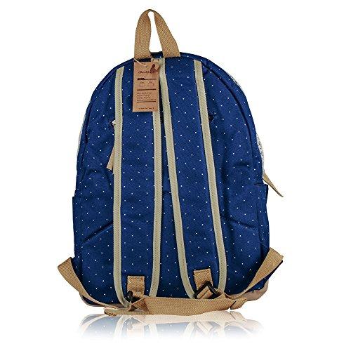 G2Plus Leichte Schulrucksack mit Polka Dots Nette Canvas Schultaschen Damen Mädchen EXTRA Groß Kinderrucksack Daypacks Rucksäcke Modische mit Laptop Fach 28 * 42 * 13 cm – Little Princess (Blau 1) - 2