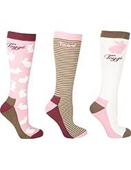 Toggi Chaussettes de Arlene Coque pour femme (Lot de 3), rose/blanc, Taille 4–8
