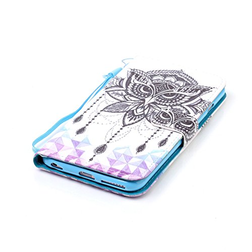 CaseHome iPhone 6 Plus/6S Plus 5.5'' PU Leder Hülle Mode der eleganten Fall Schön Geprägte Muster Gedruckt Entwurf (Mit freiem HD Schirm-Schutz) Tadellos gepasst für iPhone 6 Plus/6S Plus 5.5'' PU Led Schwarze Eule