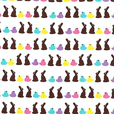 Fat Quarter Bunny Bites Easter Rabbit Chick 100% Cotton Quilting Fabric