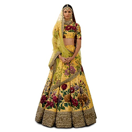 Zeel Clothing Yellow Silk Embroidered Party Wear Lehenga Choli with blouse &...