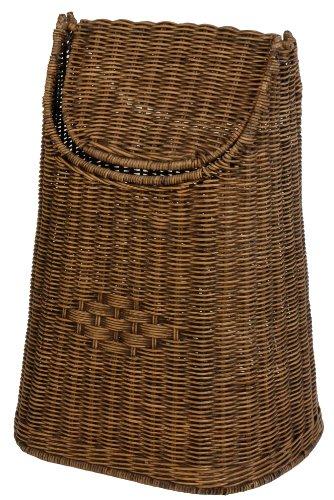 Papierkorb aus Rattan geflochten mit Schwingdeckel Farbe Vintage Braun