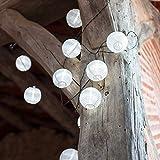 Guirlande Lumineuse LED Solaire avec 10 Lampions Chinois Blancs de Lights4fun