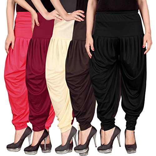 Culture the Dignity Women's Lycra Dhoti Patiala Salwar Harem Pants CTD_00PMCB2B_2-PINK-MAROON-BEIGE-BROWN-BLACK-FREESIZE -Combo...