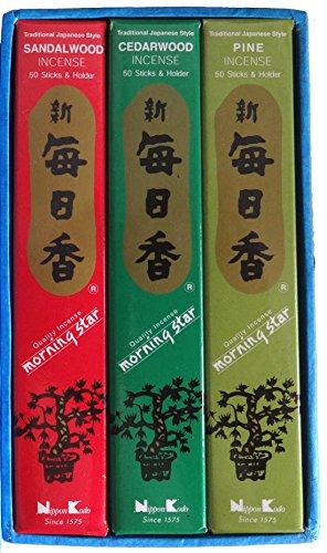 Geschenk-Set: 3 Packungen Morning Star japanische Räucherstäbchen mit Duftthema »WALD« (Kiefer-, Sandel- und Zedernholz) in Box mit Goldaufdruck.