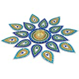 KRIWIN® Handicraft Rangoli 17 pcs set 15 inch Dia- Jewel Stone Decorations and Blue, Golden Accents on Clear Acrylic Base with T light candle holder in the center