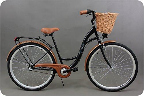 Goetze Classic 28 Zoll Damen Citybike Stadtrad Damenfahrrad Damenrad Hollandrad Retro-Design 3-Gang Korb Hinterradbremse LED-Beleuchtung Schwarz