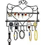 Lanlan Árbol de Metal pendientes joyas pantalla soporte para colgar de para collares pulseras en forma de corazón Pendientes Organizador Holder Negro