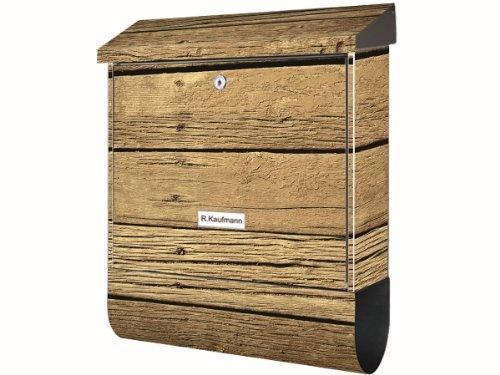 KlebeSpatz® Motiv Bild Briefkasten XXL Premium Line Holz 1 mit Zeitungsrolle Zeitungsbox A4 Einwurf Rostfreier Stahl