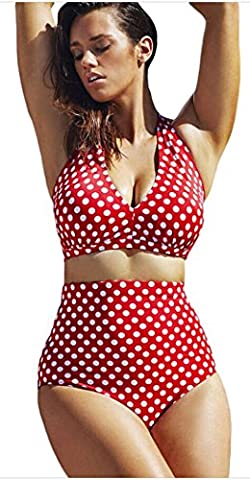 FemPool Women Plus Size Polka Dot Halter High Waisted Tankinis Sets Swimwear XXXL