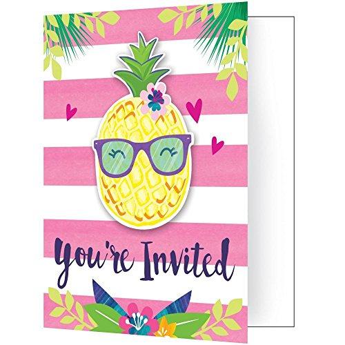 Creative Converting 332427 Einladung Ananas Und Freunde, Einheitsgröße, Mehrfarbig