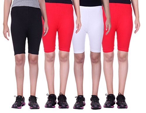 Alisha Stretchable Cycling Shorts - Pack of 4 (BLK_RED_WHT_RED_32)