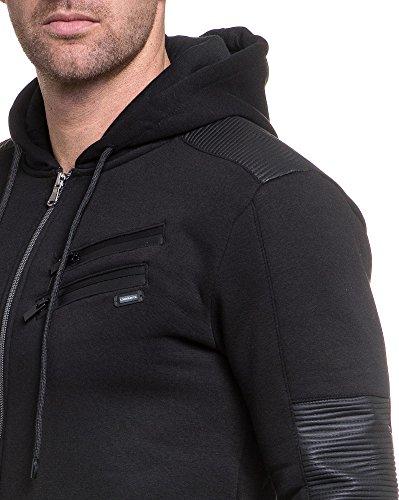 BLZ jeans - Gilet homme noir zippé à capuche et zips fantaisie Noir