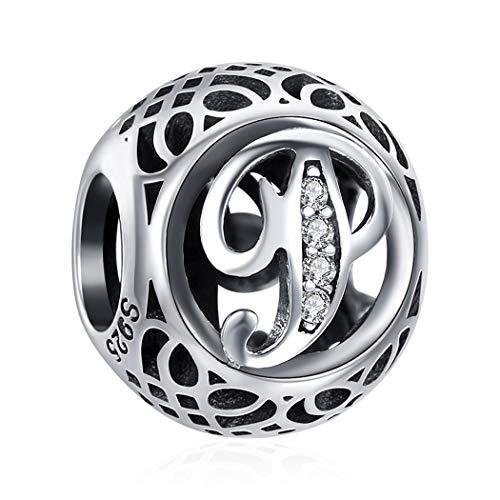 P Graviert Damen Bead Charm 925 Sterling Silber Zirkonia Fit für Charm Armband, für Männer, Kommt in Geschenkbox, 26 Buchstaben DIY Serie...