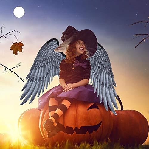 Leiyini Kinder schwarz weiß kostüm feder engelsflügel unisex toys halloween junge mädchen frauen erwachsene kind dekoration dress up phantasie cosplay party (Himmlische Engel Baby Kostüm)