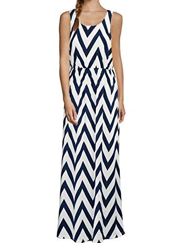 Damen ärmellose Zick-Zack Muster elastische Taille Knöchellanges Kleid, Blau/M (EU 40) (Kleid Zick-zack-gedruckt)