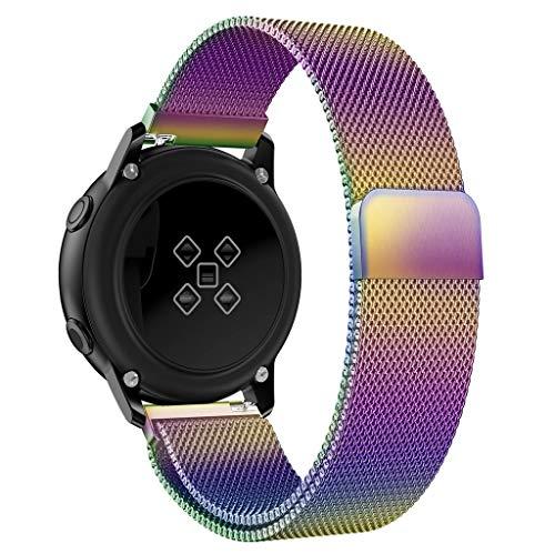 Uhrenarmbänder für Samsung Galaxy Watch Active Magnetic Milanese Loop Strap Schnellverschlussband Uhrenarmband Handgelenksriemen für Damen Herren Einstellbar Ersatzband Watch Band Wriststraps (Lila)