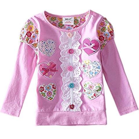 Mieldorie Robe Princesse enfants filles Fleur dentelle T-shirt (2-3 années, rose)