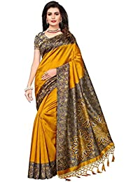 Indira Designer Women's Yellow Color Art Silk Saree With Blouse