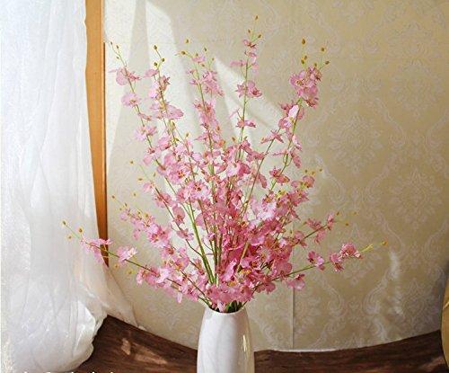 Künstliche Orchidee Blumen gelb 10 Stück Oncidium Seidenblume fake Blumen großer Zweig (pink)