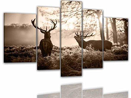 Drei-tier-natur (BILDER-MANUFAKTUR, LEINWANDBILDER, KUNSTDRUCK, WANDBILD, BILD, BILDER, 8065 FARBE 3, 170x100 cm XXL HIRSCH WALD HIRSCHKUH BERGE NATUR TIER)