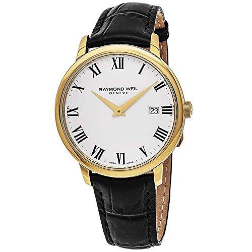 Raymond Weil Herren Analog Quarz Uhr mit Leder Armband 5488-PC-00300
