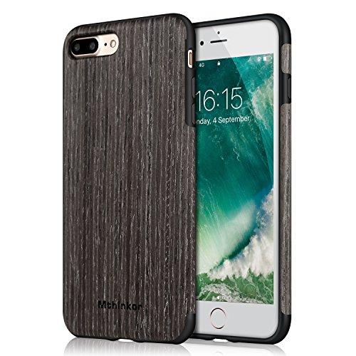 Cover iPhone 8 / Cover iPhone 7 Mthinkor Custodia Aderente Perdettamente Legno Morbido per iPhone 7 e iPhone 8 (Sandalo Rosso) Albicocca Nero